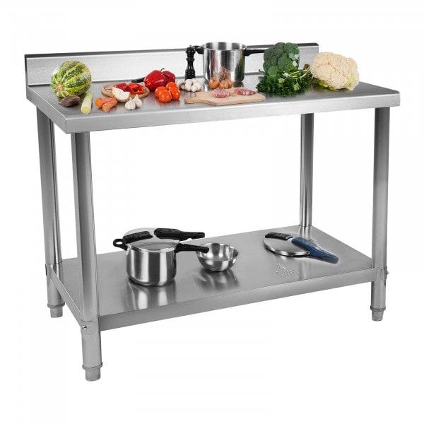 Stół roboczy - stal nierdzewna - 120 x 70 cm - 143 kg - rant