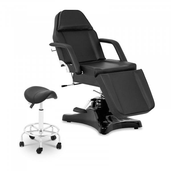 Zestaw Czarny fotel kosmetyczny Bergamo + Czarne krzesło siodłowe Frankfurt - oparcie