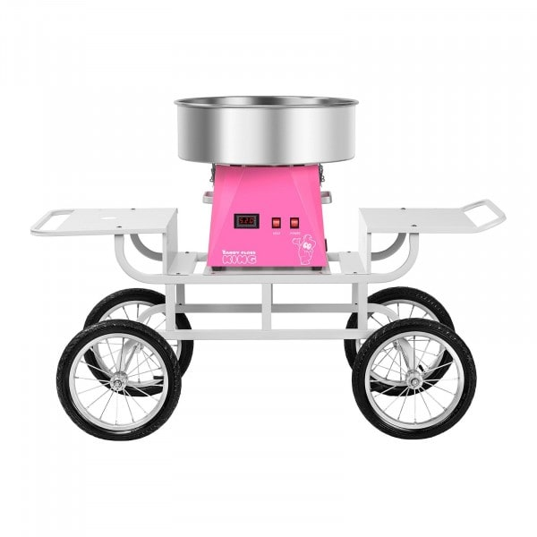 Zestaw Maszyna do waty cukrowej - 52 cm + Wózek do waty cukrowej - 2 półki