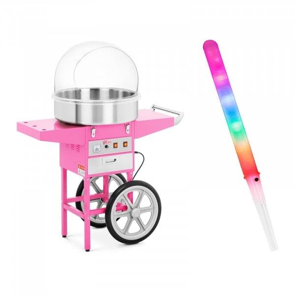 Zestaw Maszyna do waty cukrowej - 52 cm - wózek + Świecące pałeczki - LED - 100 szt.