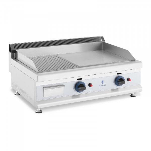 Podwójny grill gazowy - 74,5 x 40 cm - gładki / ryflowany - 2 x 3100 W - propan / butan - 0,02 bar
