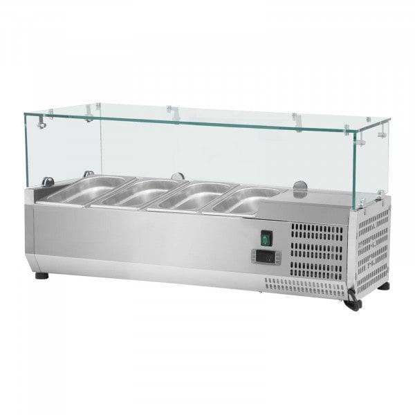 Nadstawa chłodnicza - 120 x 39 cm - 3 x GN 1/3 oraz 1 x GN 1/2 - szklana osłona