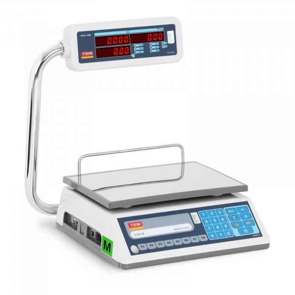 Waga sklepowa - 15 kg / 5 g - LED - PLU - legalizacja