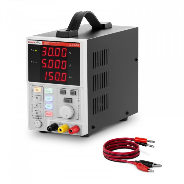Zasilacz laboratoryjny - 0-30 V - 0-5 A DC - 150 W - 4 lokalizacje pamięci - 4-cyfrowy wyświetlacz LED