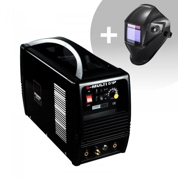 Urządzenie wielofunkcyjne - TIG 180 A - CUT 50 A - MMA - PRO + Maska spawalnicza – Carbonic
