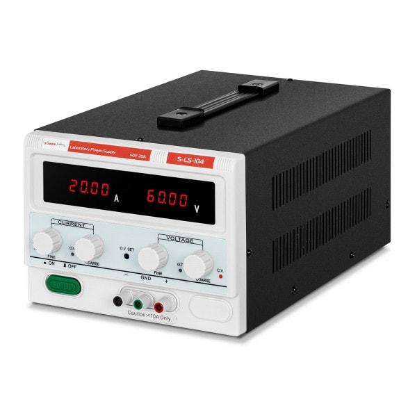 Zasilacz laboratoryjny - 0-60 V - 0-20 A DC - 1200 W - 4 lokalizacje pamięci - 4-cyfrowy wyświetlacz LED