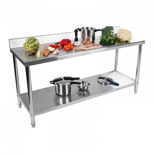 Stół roboczy - stal nierdzewna - 200 x 60 cm - 195 kg - rant