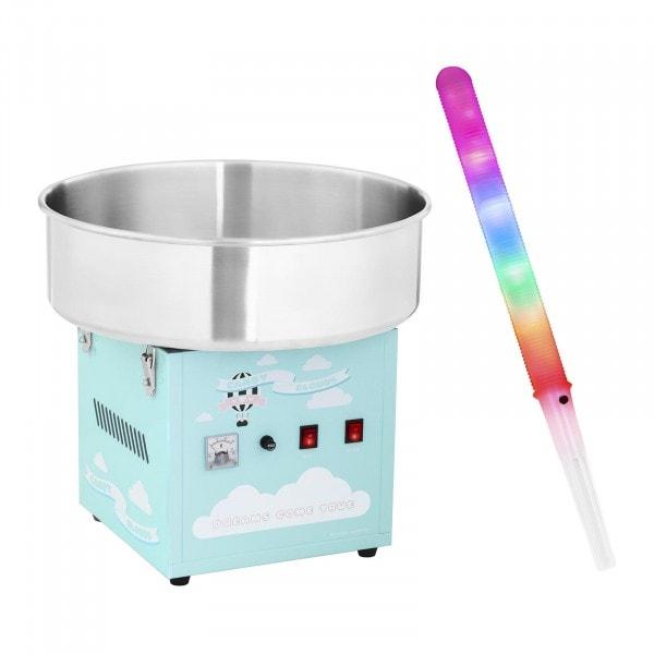 Zestaw Maszyna do waty cukrowej - 52 cm - turkusowa + Świecące pałeczki LED 50 sztuk