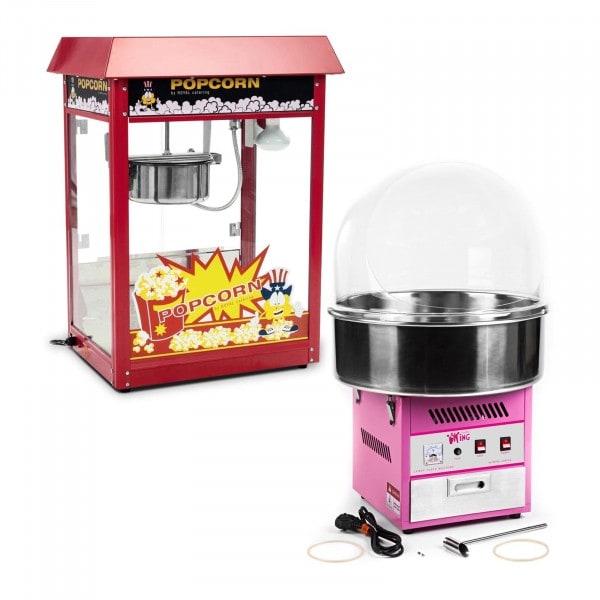 Zestaw Maszyna do waty cukrowej - 52 cm - pokrywa + Maszyna do popcornu - czerwony daszek