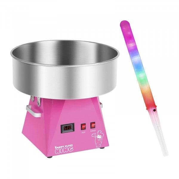 Zestaw Maszyna do waty cukrowej - 52 cm + Świecące pałeczki LED 50 sztuk