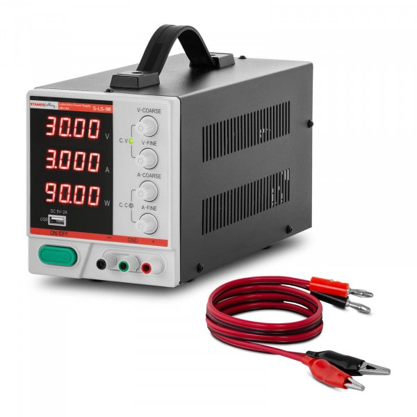 Zasilacz laboratoryjny - 0-30 V - 0-3 A DC - 90 W - 4-cyfrowy wyświetlacz LED - USB