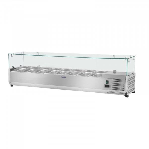 Nadstawa chłodnicza - 180 x 39 cm - 8 x GN 1/3 - szklana osłona