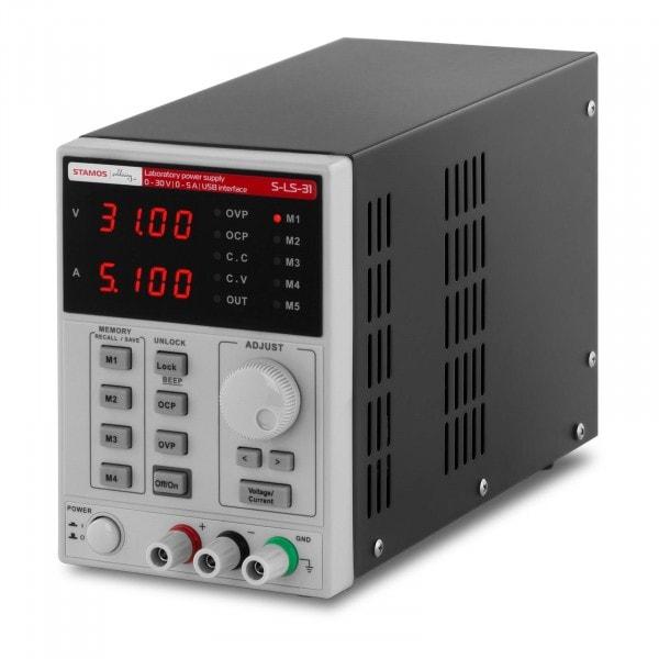 Zasilacz laboratoryjny - 0-30 V - 0-5 A DC - przewód USB - funkcja pamięci