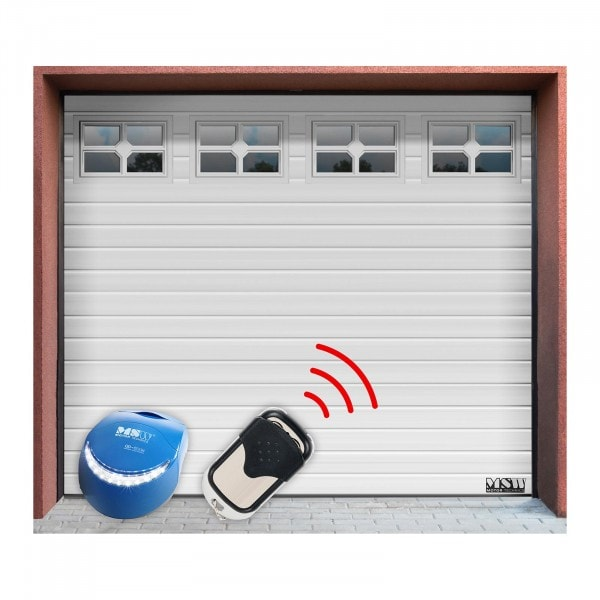 Brama garażowa z napędem - segmentowa - 2500 x 2125 mm - biała - okna