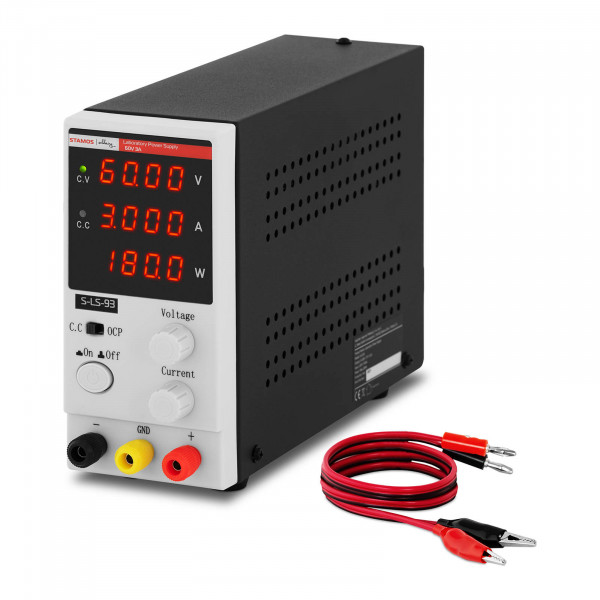 Zasilacz laboratoryjny - 0-60 V - 0-3 A DC - 180 W - 4-cyfrowy wyświetlacz LED