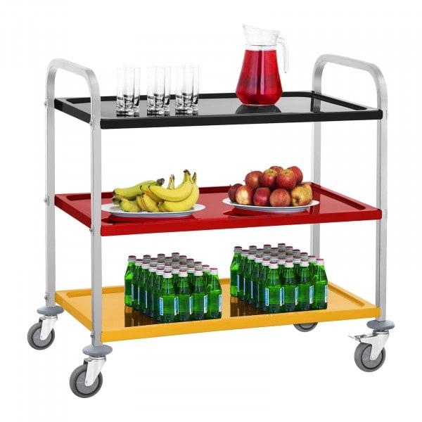 Wózek kelnerski - 3 półki - nośność statyczna 500 kg - kolorowy