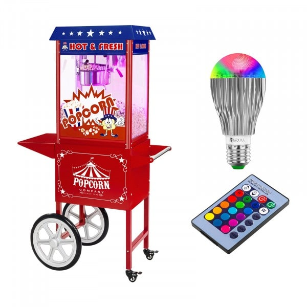 Maszyna do popcornu - wózek - amerykański design + Żarówka LED RGB