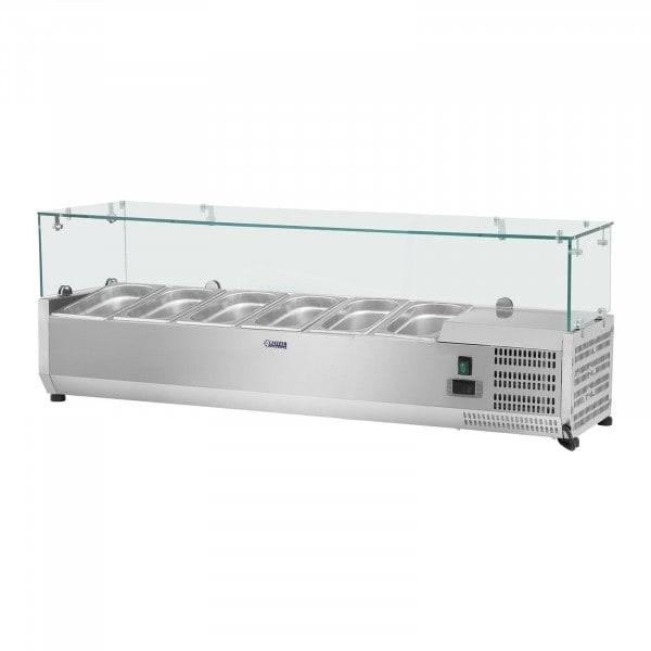 Nadstawa chłodnicza - 150 x 39 cm - 5 x GN 1/3 oraz 1 x GN 1/2 - szklana osłona