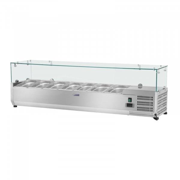 Nadstawa chłodnicza - 160 x 39 cm - 7 x GN 1/3 - szklana osłona