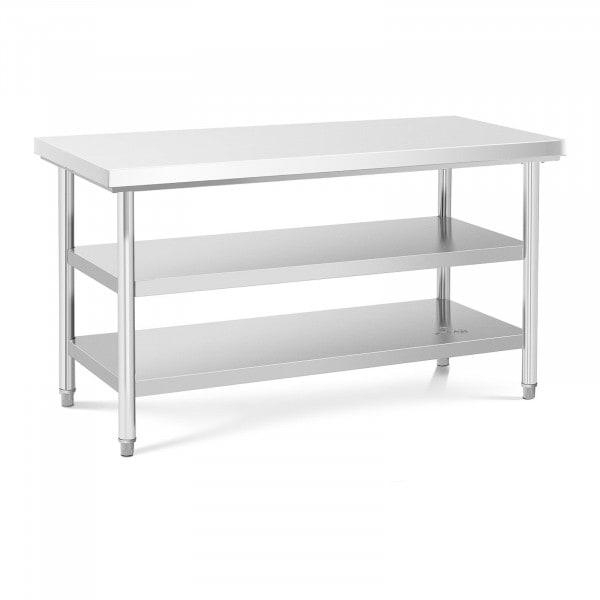 Stół roboczy - 3 poziomy - 150 x 70 cm - 600 kg - stal nierdzewna