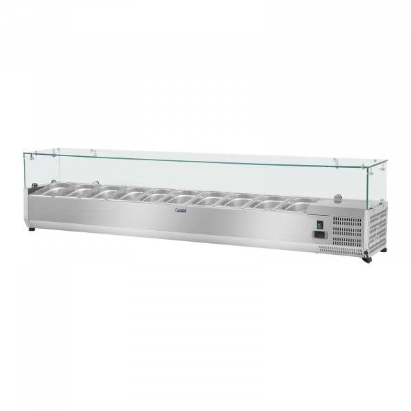 Nadstawa chłodnicza - 200 x 33 cm - 10 x GN 1/4 - szklana osłona