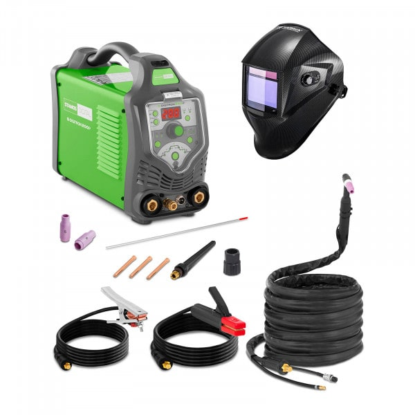 Spawarka TIG - 200 A - 230 V - Puls - 2/4 Takt - LED + Maska spawalnicza - Carbonic - Professional