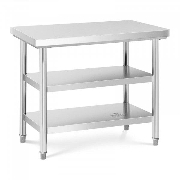 Stół roboczy - 3 poziomy - 100 x 70 cm - 600 kg - stal nierdzewna