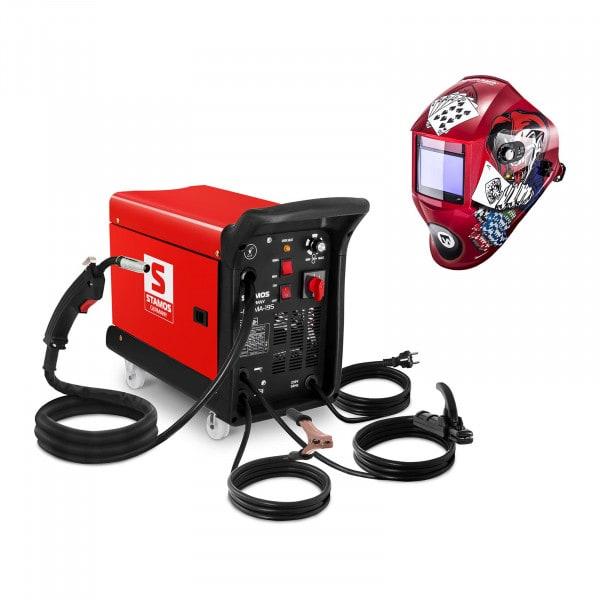 Spawarka MIG/MAG - 195 A - 230 V - przenośna - plus - maska spawalnicza - Pokerface - Professional