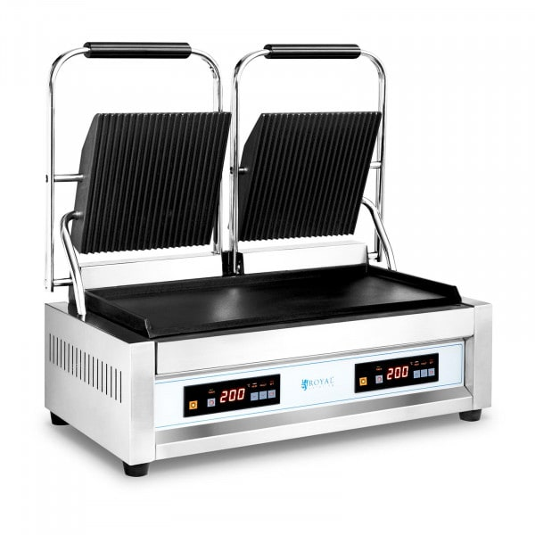 Podwójny grill kontaktowy - 2 x 1800 W - 10057 - gładki/ryflowany