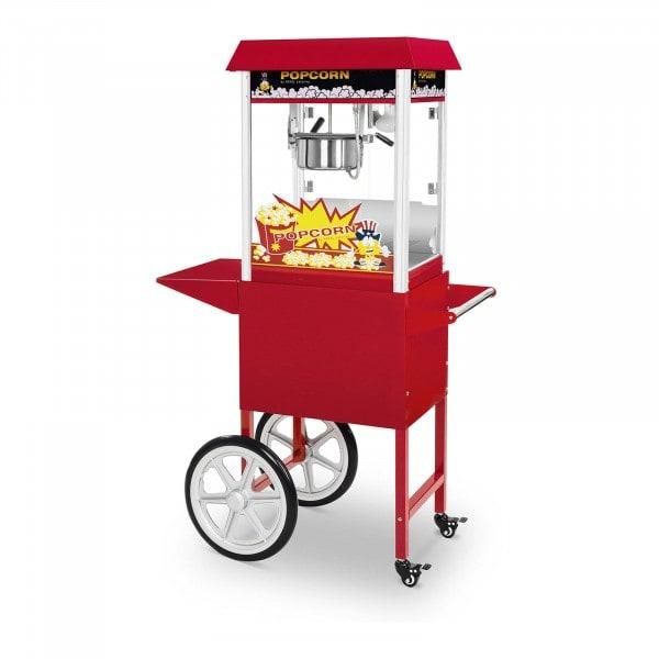 Zestaw maszyna do popcornu - 1495 W + Wózek do popcornu - czerwony - 51 x 37 cm