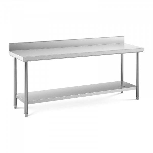 Stół roboczy - stal nierdzewna - 200 x 60 cm - 160 kg - rant