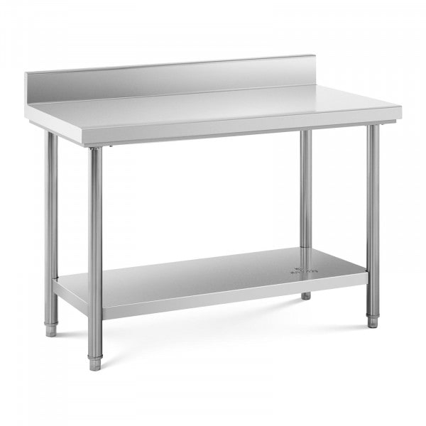 Stół roboczy - stal nierdzewna - 120 x 60 cm - 110 kg - rant