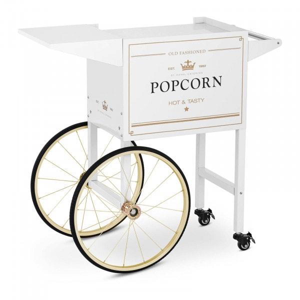 Wózek do popcornu - 51 x 37 cm - biało-złoty