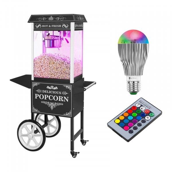Maszyna do popcornu - wózek - czarna + Żarówka LED RGB