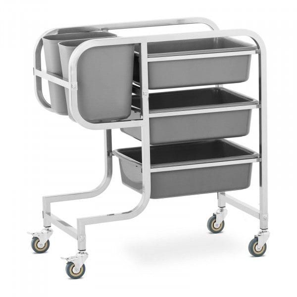 Wózek kelnerski - 3 półki - 2 pojemniki - 100 kg