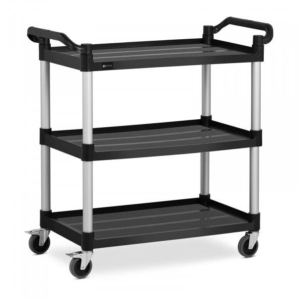 Wózek kelnerski - 3 półki - 90 kg - czarny
