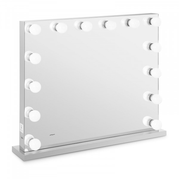 Lustro z żarówkami - LED - srebrna rama - 84 x 68 cm
