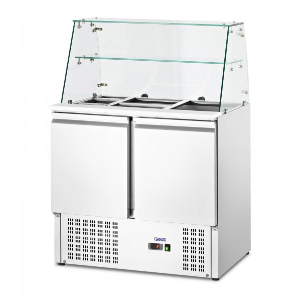 Stół chłodniczy sałatkowy - ze szklaną witryną - Royal Catering - 240 l - na 7 pojemników GN - 90 x 70 cm