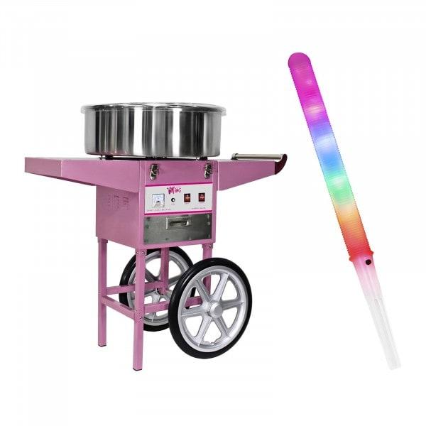 Zestaw Maszyna do waty cukrowej - 52 cm + Świecące pałeczki - LED - 100 szt.