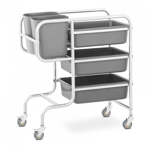 Wózek kelnerski - 3 półki - 2 pojemniki - 84 kg