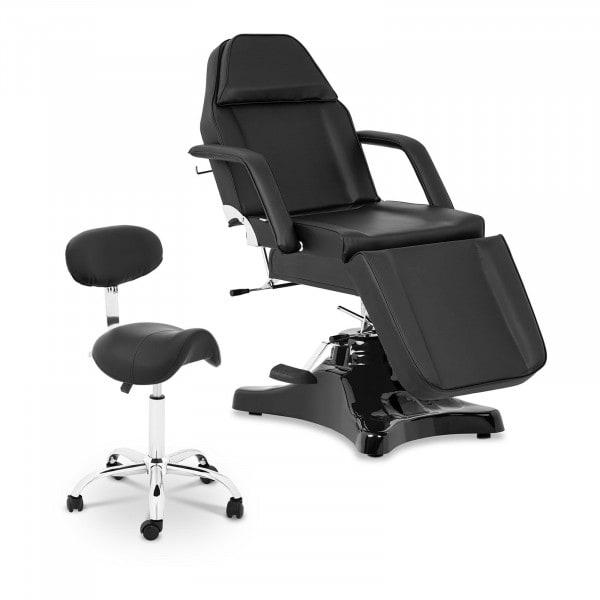 Zestaw Czarny fotel kosmetyczny Bergamo + Czarne krzesło siodłowe Hamburg - oparcie