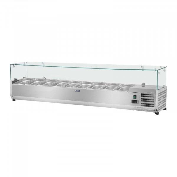 Nadstawa chłodnicza - 180 x 33 cm - 9 x GN 1/4 - szklana osłona