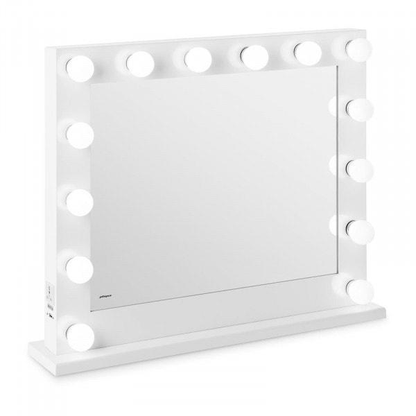 Lustro z żarówkami - LED - biała rama - 84 x 68 cm