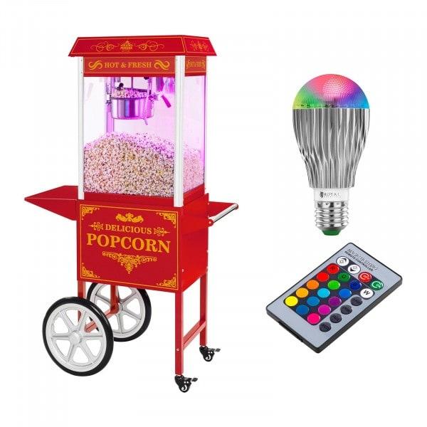 Maszyna do popcornu - wózek - czerwona + Żarówka LED RGB
